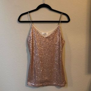 Rose gold sequin tank top
